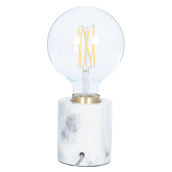 Pacific Marble and Brushed Gold Bulb Holder with Calex Bulb Options