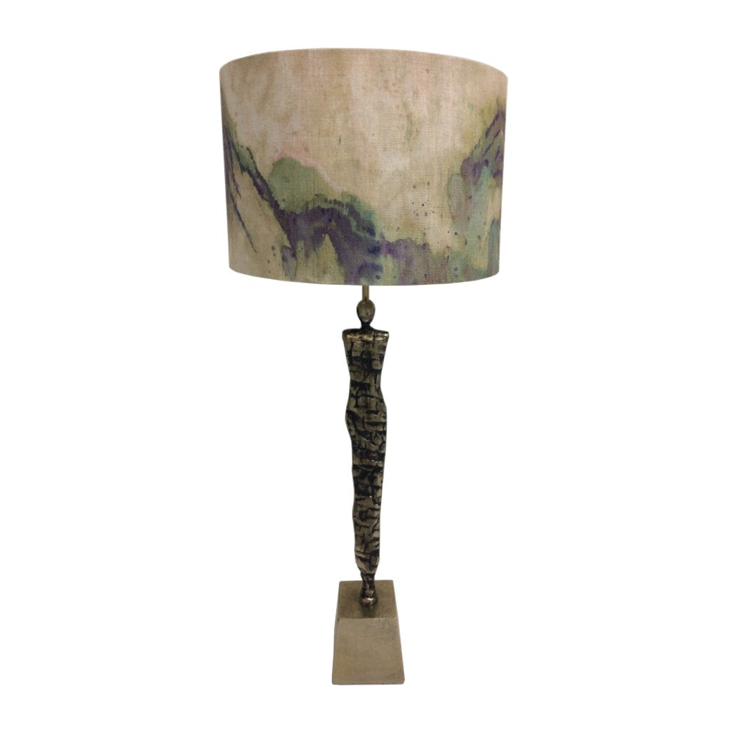 Shaman Champagne Table Lamp with Antique Brass Edges