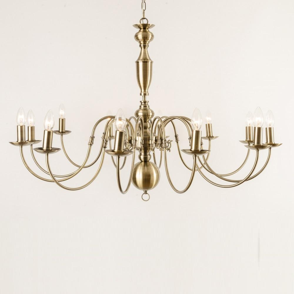 Antwerp 12 Light Antique Brass Flemish Style Chandelier