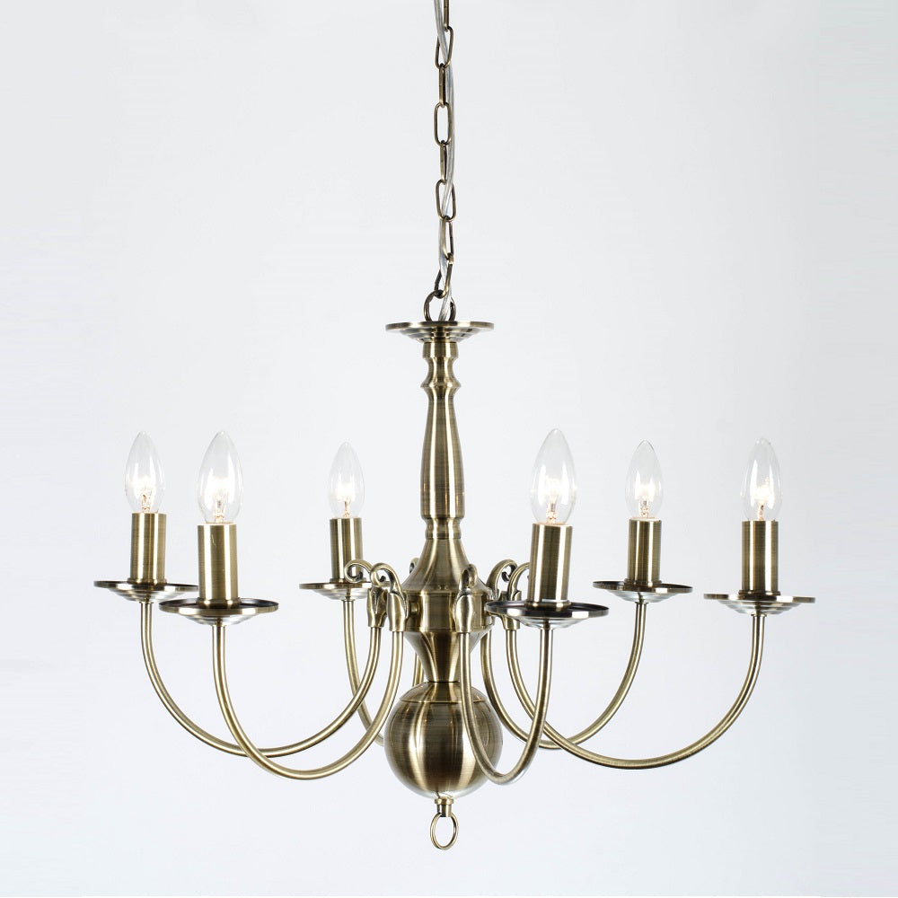 Bruges 6 Light Antique Brass Flemish Chandelier