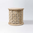 Bagru Round Side Table in Mango Wood