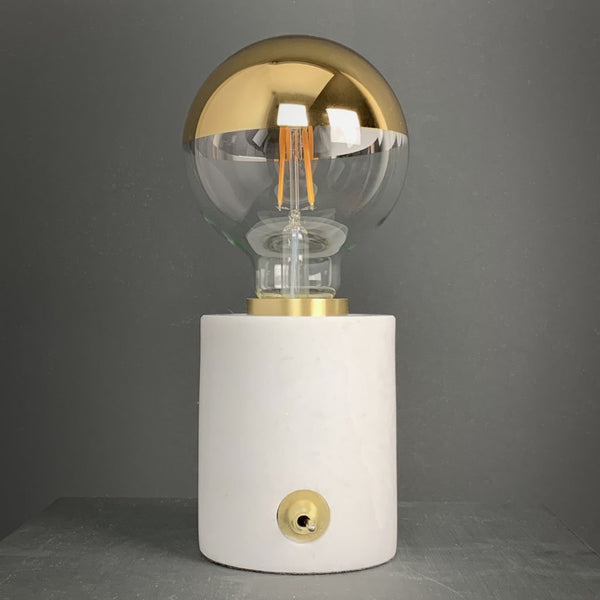 Pacific Marble and Brushed Gold Bulb Holder with Gold Globe Bulb 95mm
