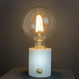 Pacific Marble and Brushed Gold Bulb Holder with Vintage Globe Bulb 125mm