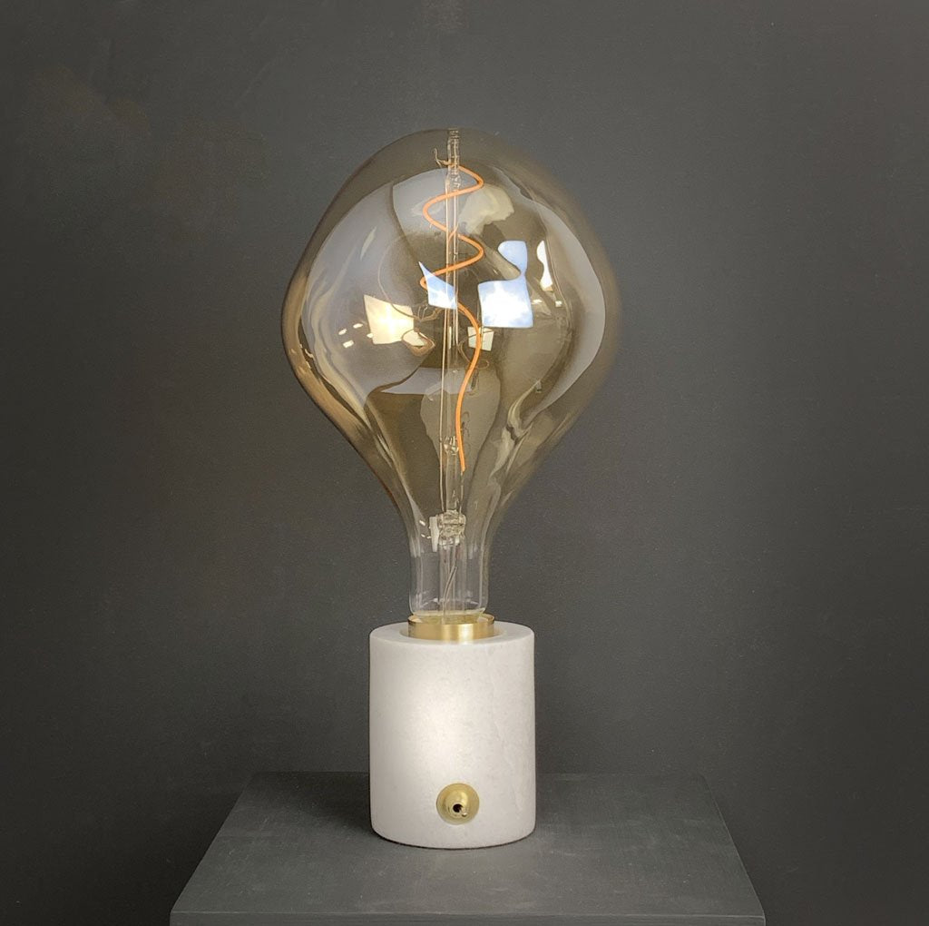 Pacific Marble and Brushed Gold Bulb Holder with XXL Organic Gold Vintage Bulb