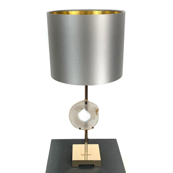 Agate Table Lamp with Grey Silk Shade