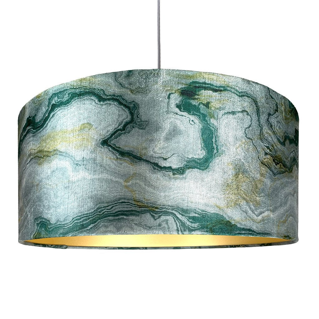 Rocke Emerald Carrara Marble Effect Drum Electrified Pendant