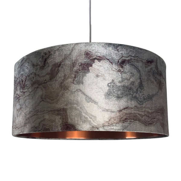 Rocke Pewter Carrara Marble Effect Shallow Electrified Pendant