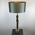 Shaman Antique Brass Table Lamp with Wild Dove Shade