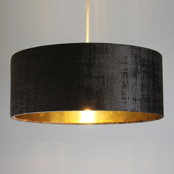 Rocke Textured Velvet Shallow Drum Shade