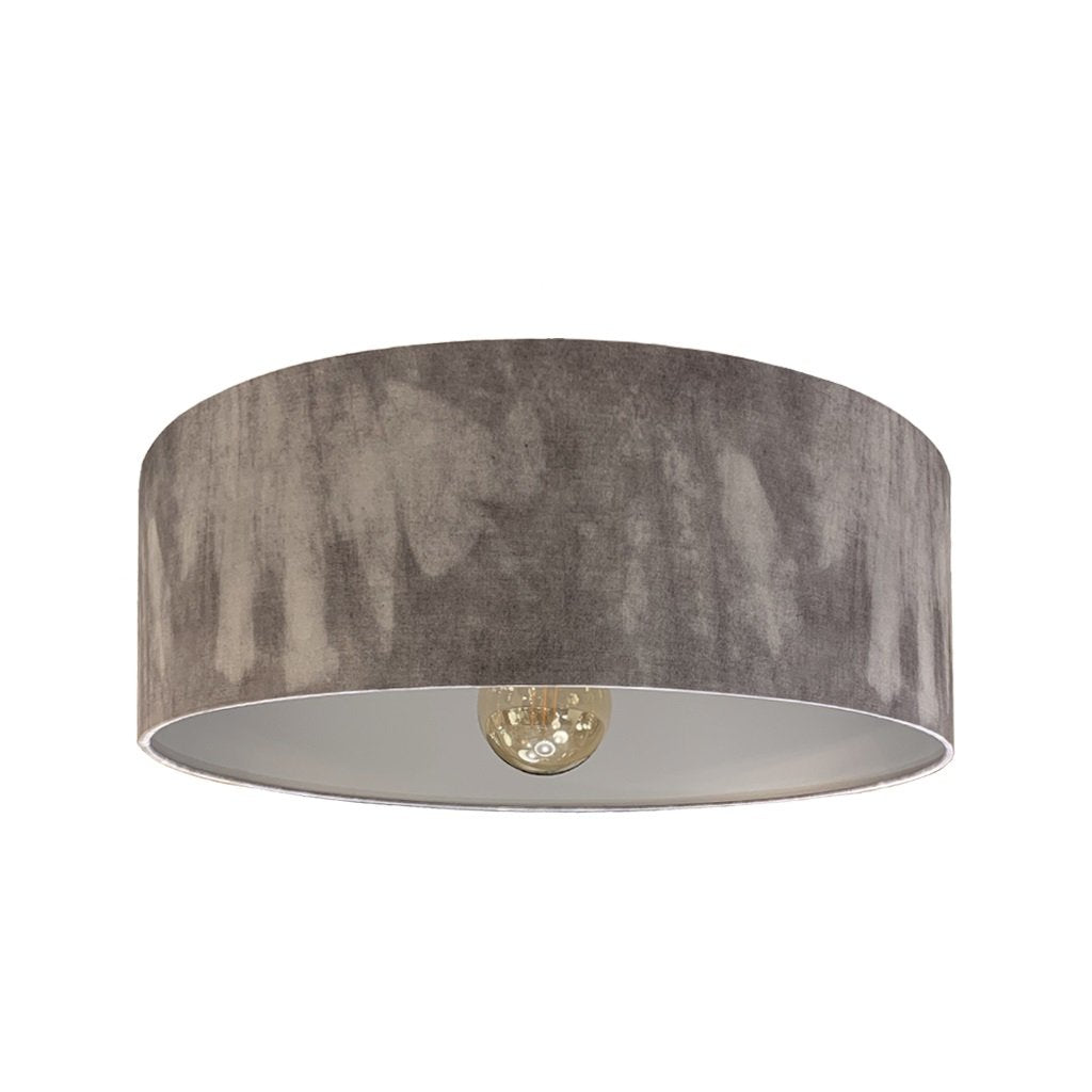 Rocke Grey Ombre Electrified Shallow Drum Ceiling Shade