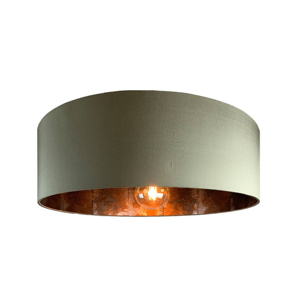 Rocke Kelp Shallow Drum Shade with Anthology Oxidise Copper Slate Lining