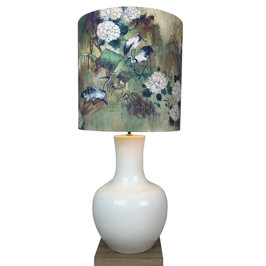 David Hunt Como Small White Ceramic Table Lamp
