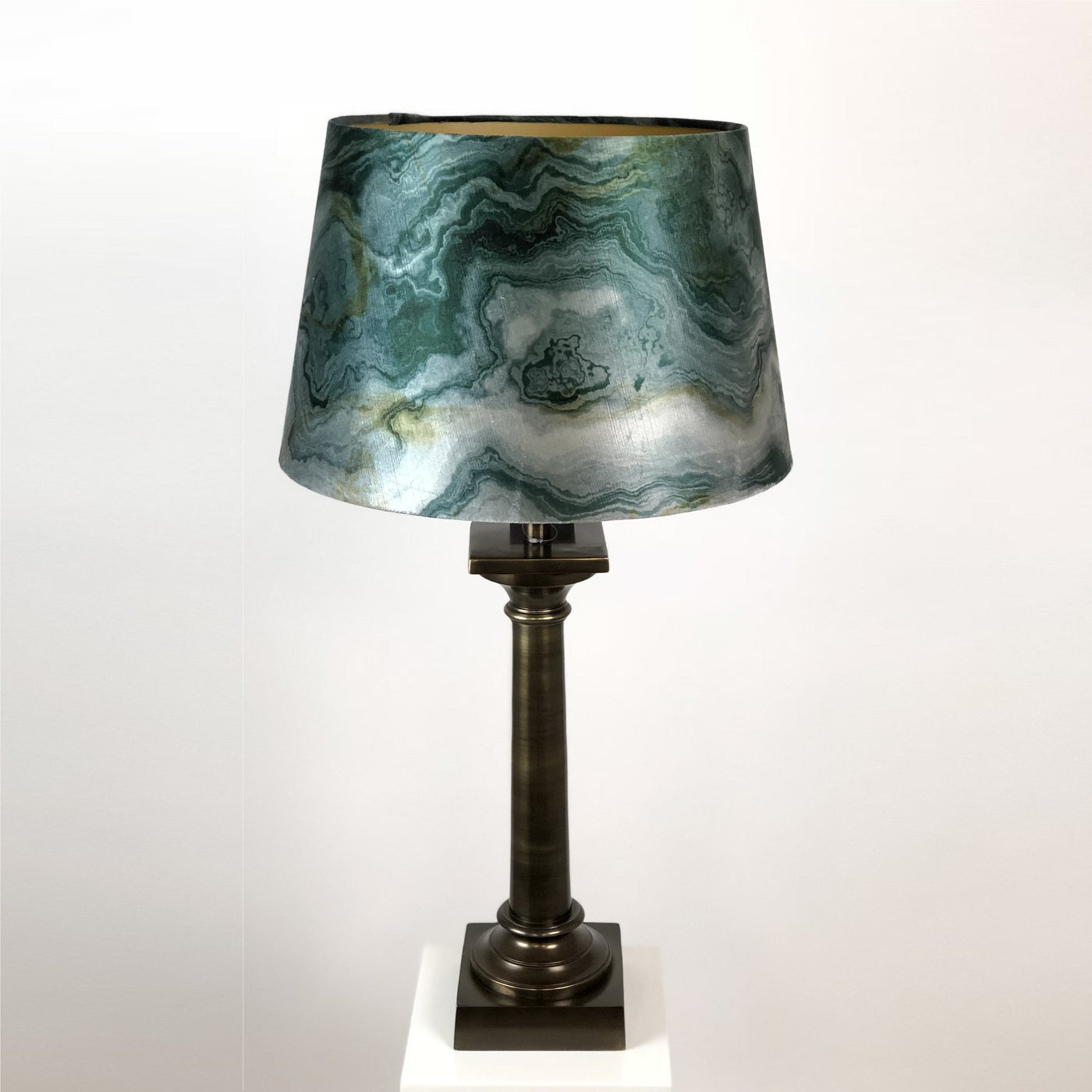 Doric Table Lamp Antique Brass with Marble Emerald Shade