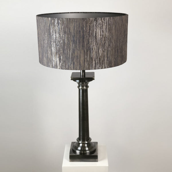 Doric Table Lamp Burnished Pewter with Varese Quicksilver Shade