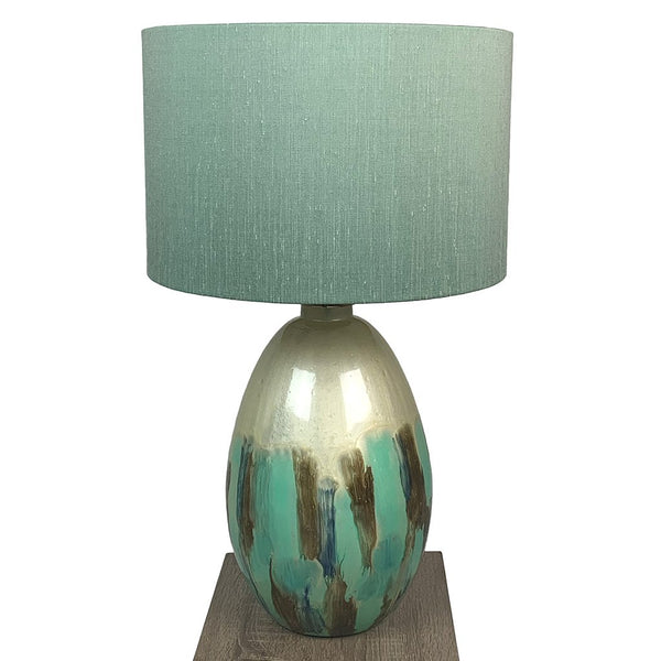 Ikela Enamel Azurite Finish Glass Table Lamp