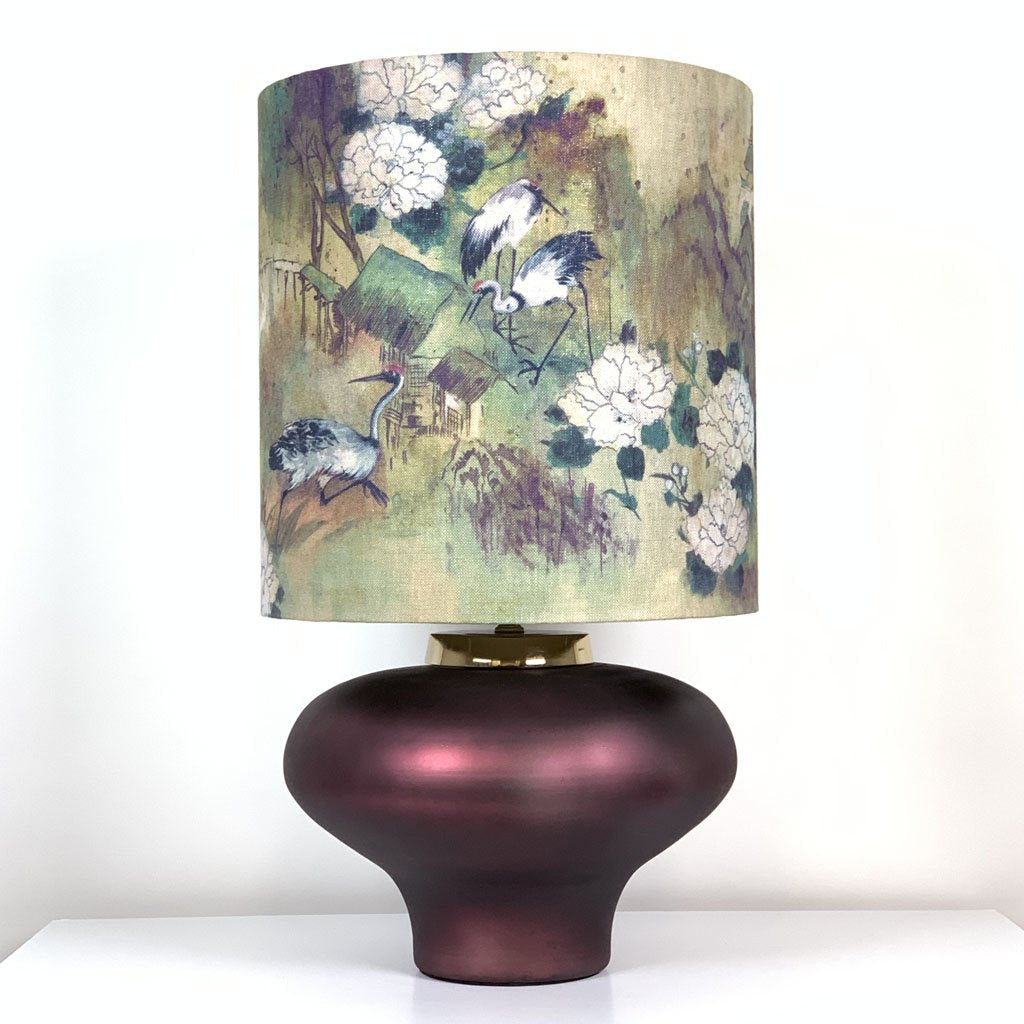Rugari Enamel Sangria Finish Glass Table Lamp With Meijing Emperor Shade