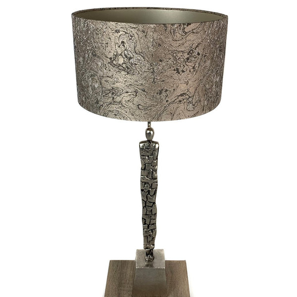 Shaman Nickel Table Lamp with Black Edges