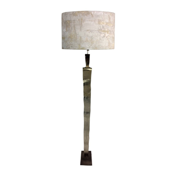 Totem Nickel & Champagne Floor Lamp with Bronze Base