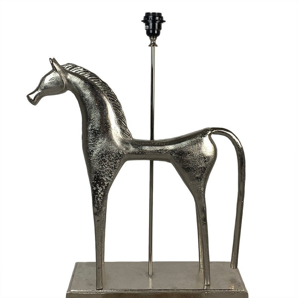 Etruscan Horse Nickel Finish Table Lamp