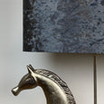 Etruscan Horse Champagne Finish Table Lamp with Pangolin Sapphire Shade