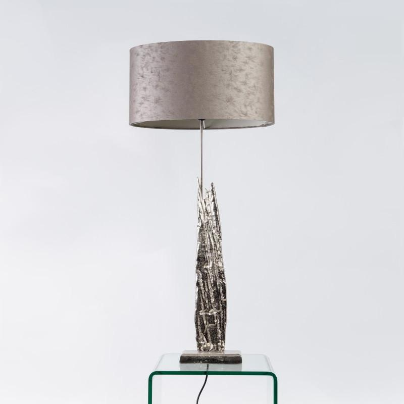 Trident Medium Table Lamp Luxuriant Silver with Satin Haze Shade