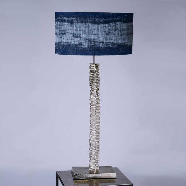Paperbark Small Table Lamp Luxuriant Silver with Musset Navy Shade