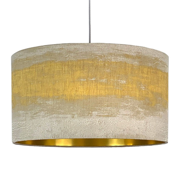 Rocke Painterly Mustard and Taupe Stripe Drum with Brushed Gold