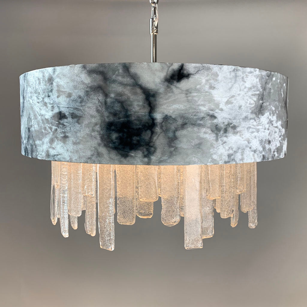 Lucerne Hand Cut Glass Ceiling Pendant and Carrara Marble Shade