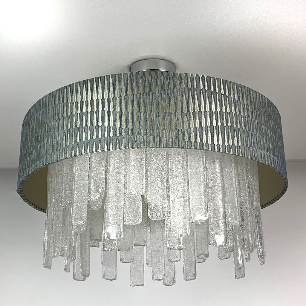 Lucerne Hand Cut Glass Ceiling Flush and Giotto Moonlight Shade