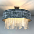 Lucerne Hand Cut Glass Ceiling Flush and Kotomi Silver Shade