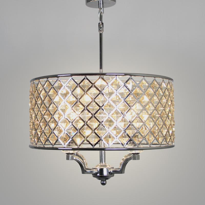 Karlin 4 Light Chrome Pendant with Cognac Crystal Glass