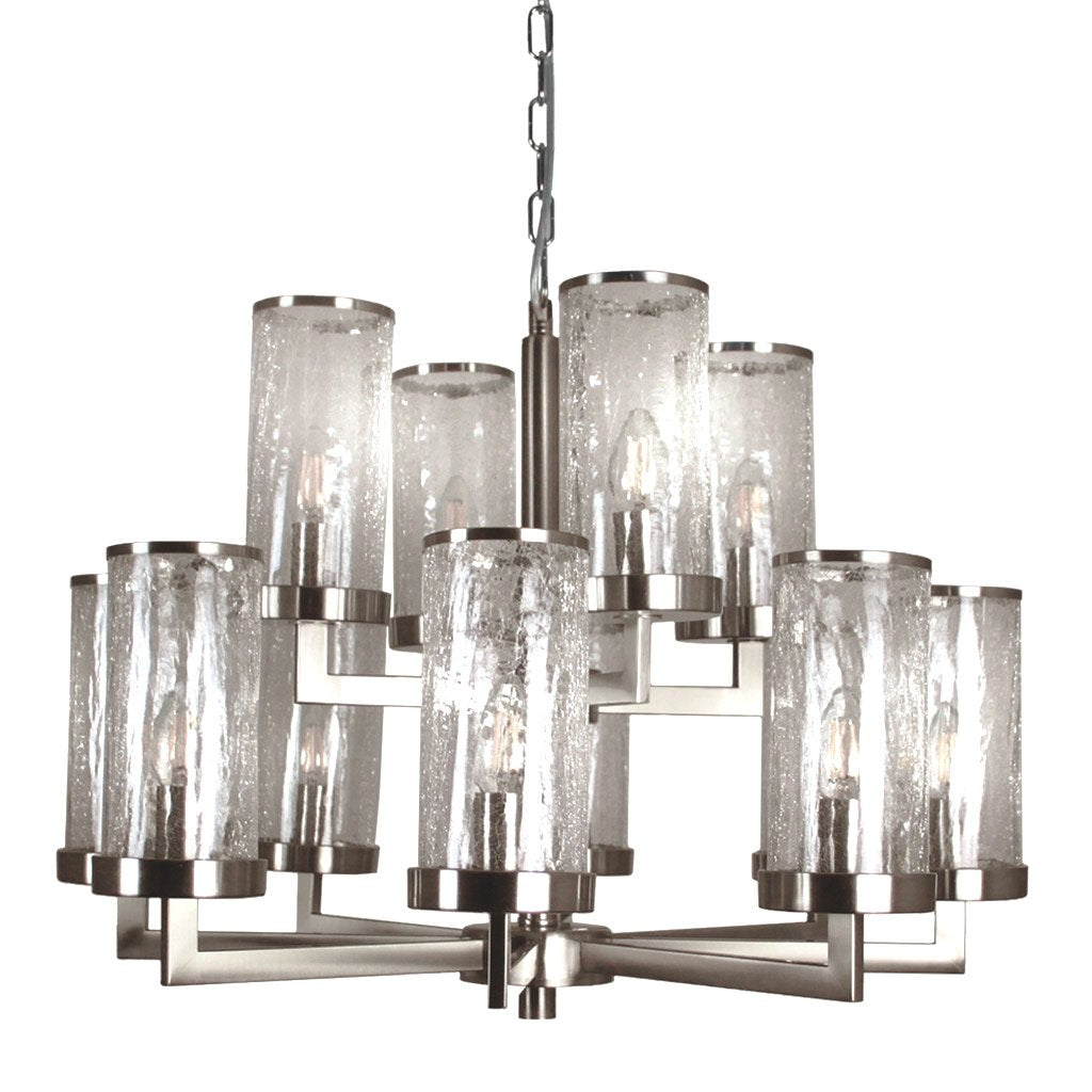 Vivaldi 12 Light Brushed Steel Chandelier with Crackle Glass