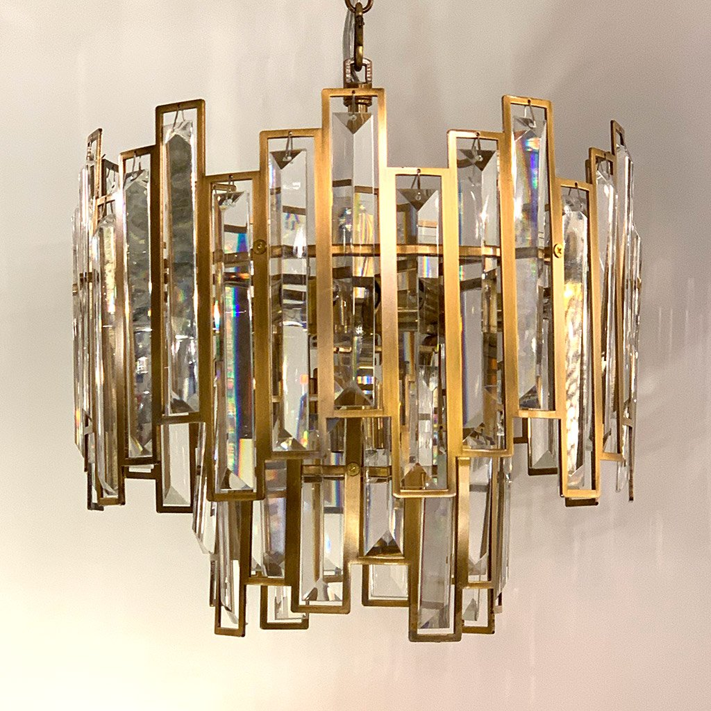 Belvoir 6 Light Pendant with Amber Crystal
