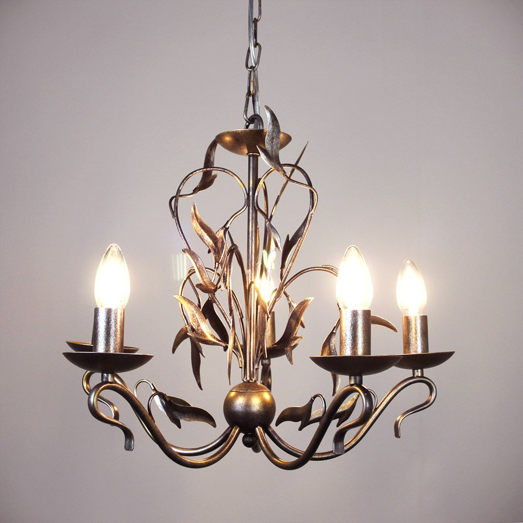 Eden 5 Light Antique Silver Foliage Chandelier
