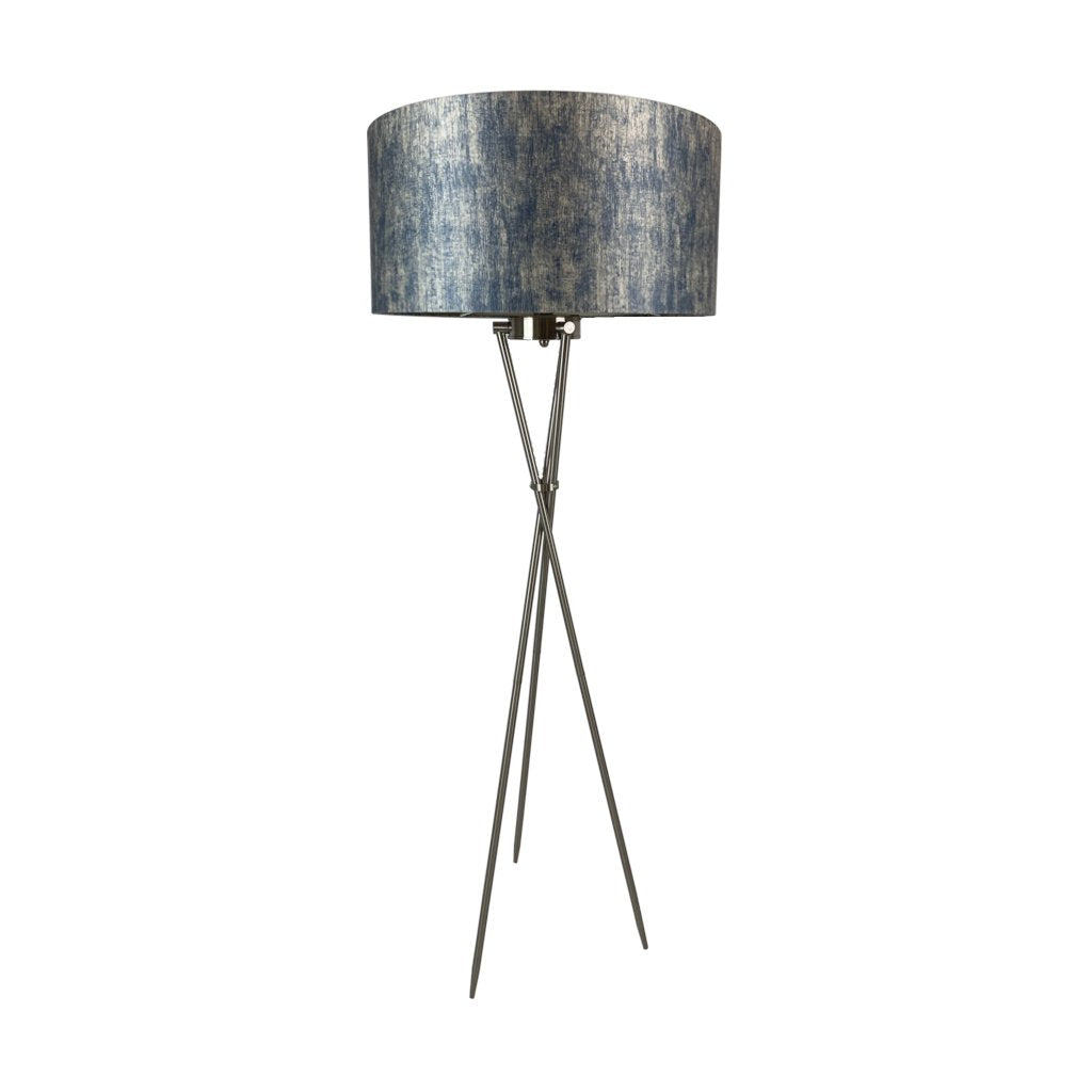 Brondby Tripod Floor Lamp Brushed Steel with Filippo Moonlight Shade