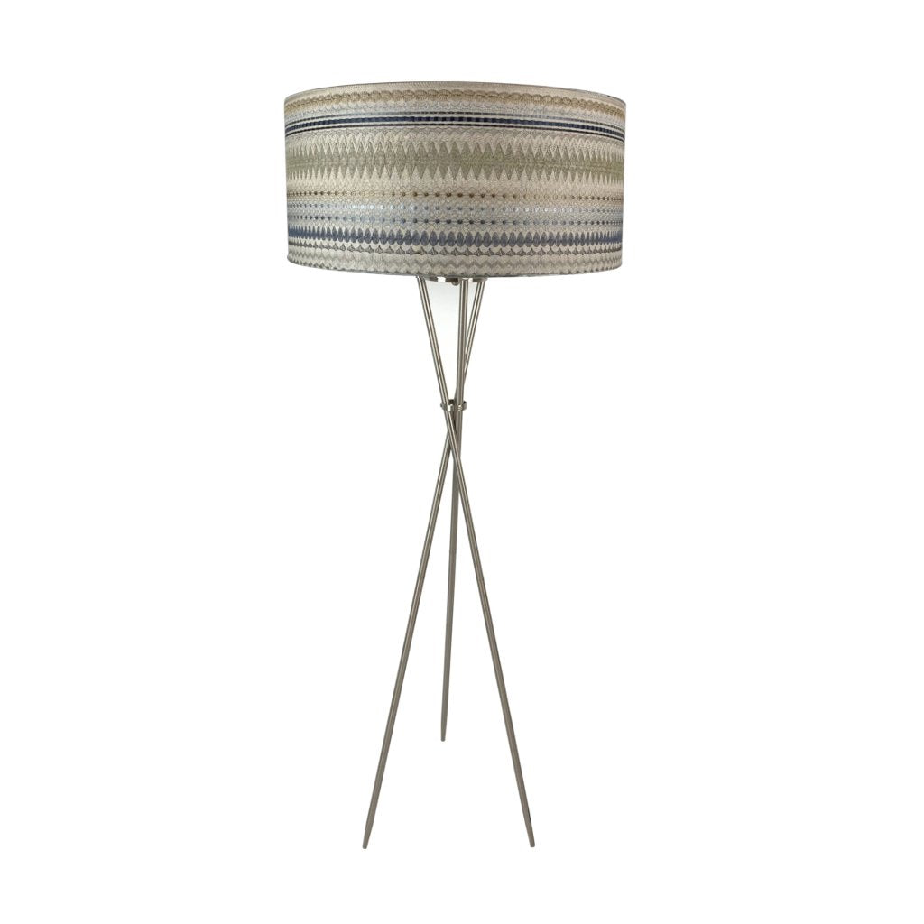 Brondby Tripod Floor Lamp Brushed Steel with Mikado Natural Shade
