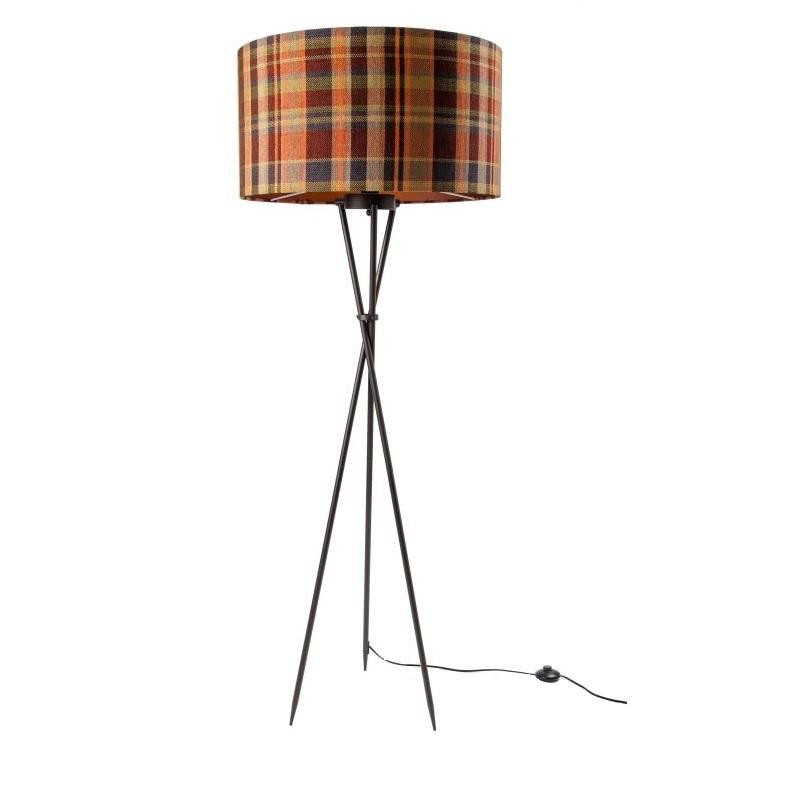 Brondby Tripod Floor Lamp Aged Bronze with Calypso Tartan Shade
