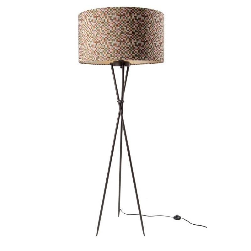 Brondby Tripod Floor Lamp Aged Bronze with Small Squares Shade