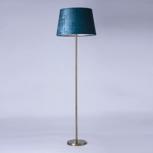 Belford Antique Brass Floor Lamp with Imagination Peacock Shade