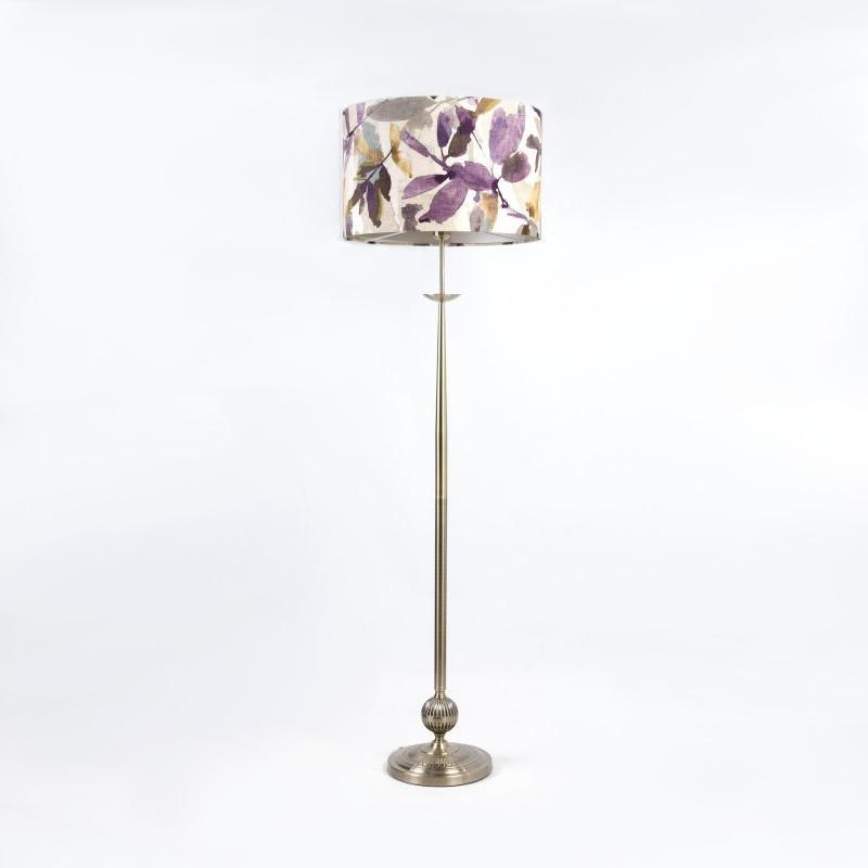 Telford Antique Brass Floor Lamp with Azzuro Orchid Shade