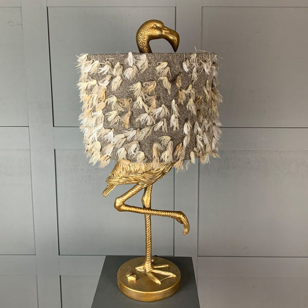 Can Can Flamingo Brass Table Lamp & Fluffy Grey Shade