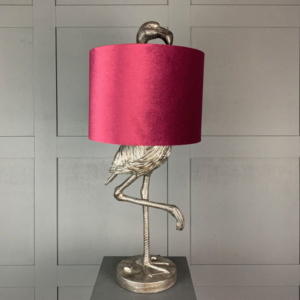 Can Can Flamingo Antique Silver Table Lamp & Burgundy Velvet  Shade