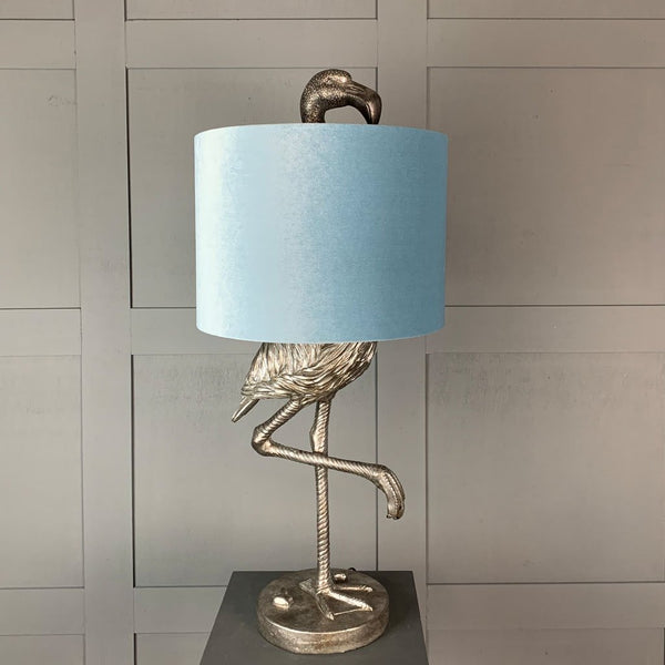 Can Can Flamingo Antique Silver Table Lamp & Duck Egg Velvet  Shade