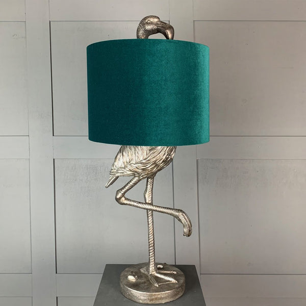 Can Can Flamingo Antique Silver Table Lamp & Jade Green Velvet  Shade