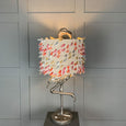 Can Can Flamingo Antique Silver Table Lamp & Fluffy Rainbow  Shade