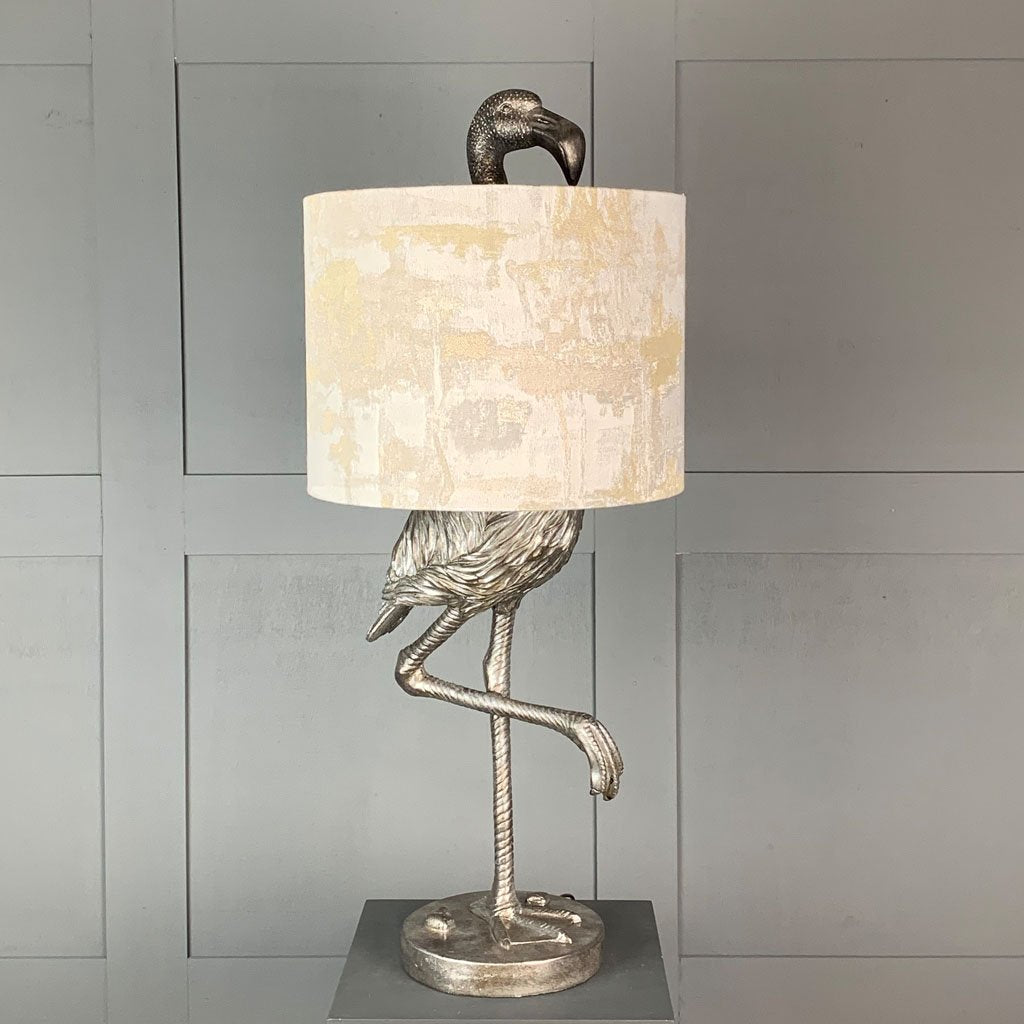 Can Can Flamingo Antique Silver Table Lamp & Hazel 1 Shade