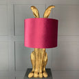 Harvey Hare Antique Brass Table Lamp & Burgundy Velvet Shade