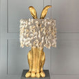 Harvey Hare Antique Brass Table Lamp & Fluffy Grey Shade