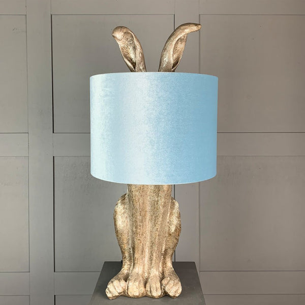 Harvey Hare Antique Silver Table Lamp & Duck Egg Velvet Shade