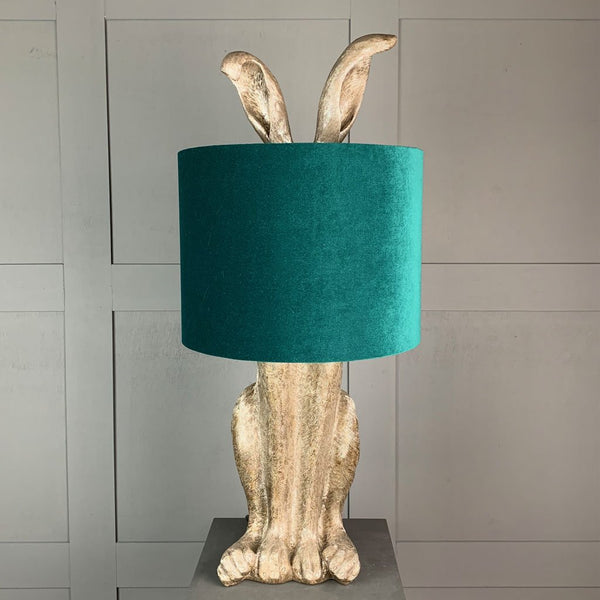 Harvey Hare Antique Silver Table Lamp & Jade Green Velvet Shade
